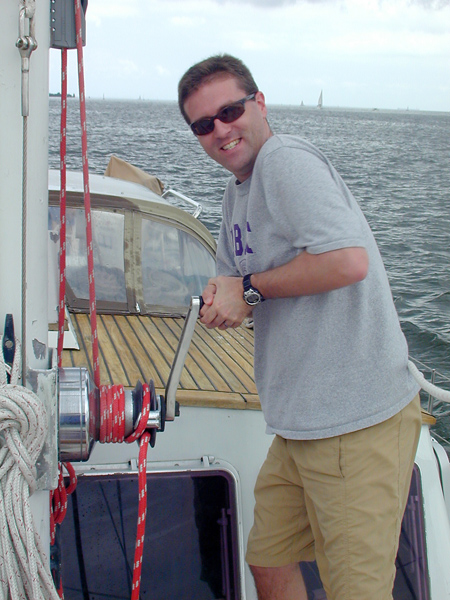 Peyton on the main halyard