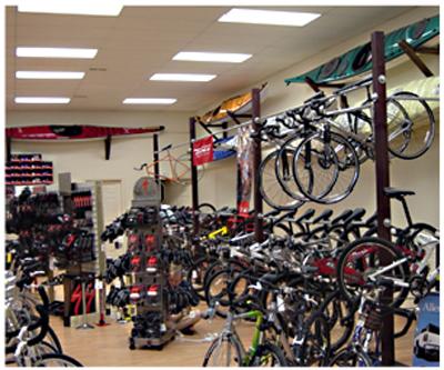 Bikes on racks