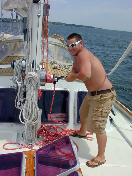 Justin at main halyard