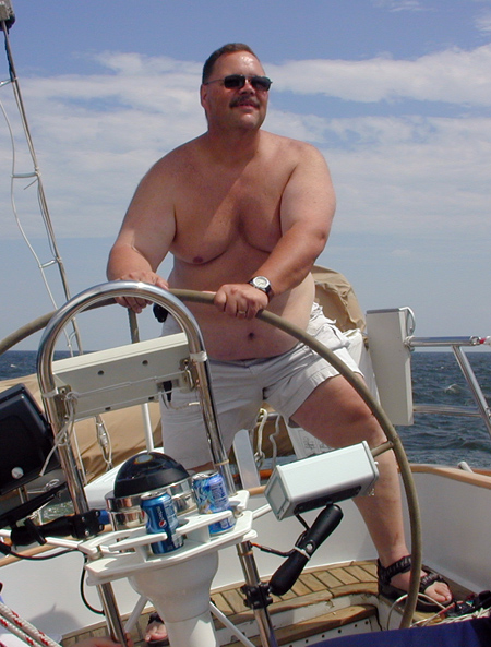Peter at helm